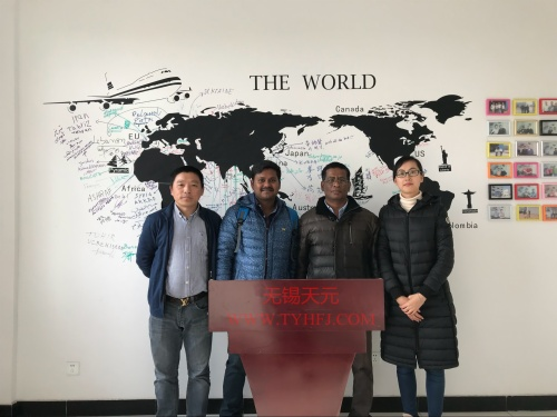 Customers from India come for purchasing stiff wadding production line etc. on Dec.1st,2017